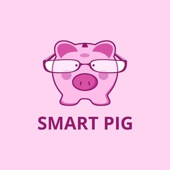 Cochon rose de personnage de dessin animé d'illustration avec la mascotte de conception de logo de vecteur de lunettes