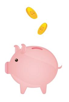 Cochon rose avec des pièces d'or sur vecteur de fond blanc