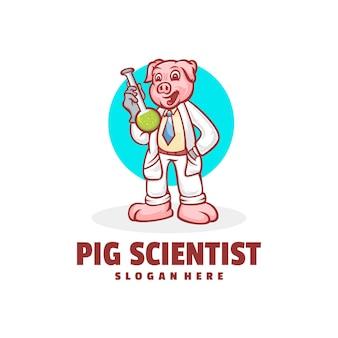 Cochon scientifiquecréation de logo de dessin animé