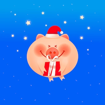 Cochon souriant souriant avec un cadeau sur un fond bleu.