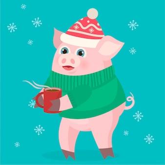 Cochon avec une tasse de café
