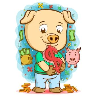 Cochon tenant le grand signe dollar avec l'argent autour de lui