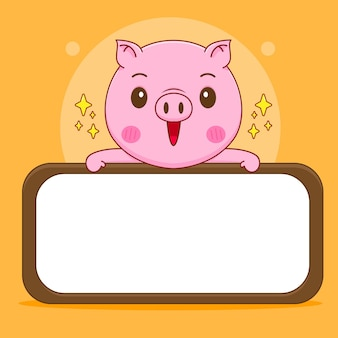 Cochon tenant une grande caricature de tableau vide