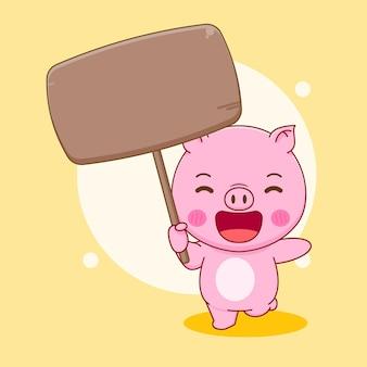 Cochon, tenue, planche, dessin animé