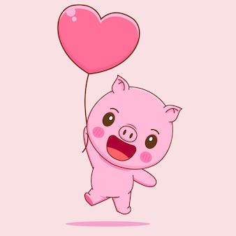 Cochon volant avec dessin animé ballon d'amour