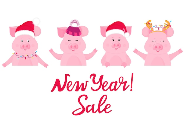 Les cochons en costumes de noël gardent une bannière publicitaire. vente du nouvel an. chapeau de père noël, casquette avec chapeau à fourrure.