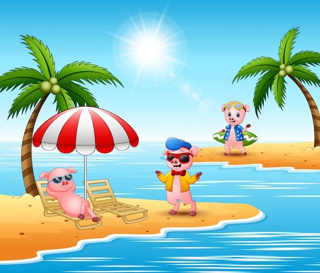 Des cochons en dessin animé profitent des vacances d'été sur la plage