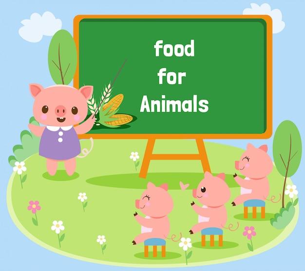 Les cochons mignons sont heureux d'apprendre
