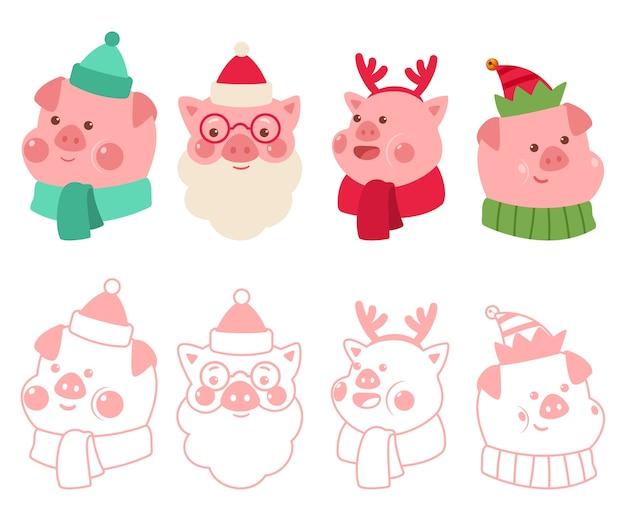 Cochons de noël dans les costumes du père noël, renne et elfe