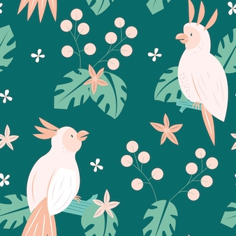 Cockatoo summer seamless pattern