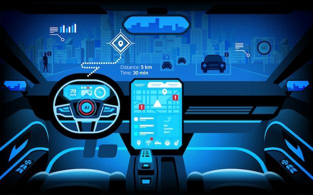 Cockpit automobile, divers moniteurs d'informations et affichages tête haute.