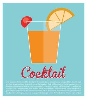 Cocktail alcool citron vert cerise fond