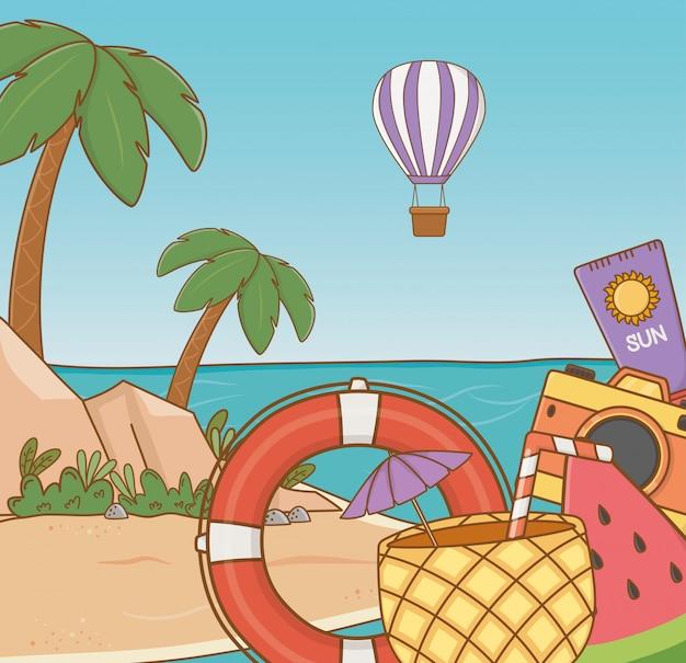 Cocktail à l'ananas et objets de la scène de plage