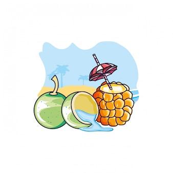 Cocktail d'ananas à la plage avec de la noix de coco