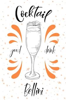 Cocktail bellini. boisson dessinée à la main sur fond blanc. illustration vectorielle.