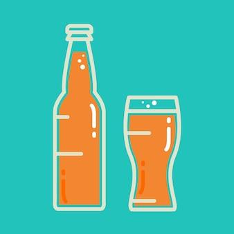 Cocktail, bière fraîche ou bouteille de jus avec verre