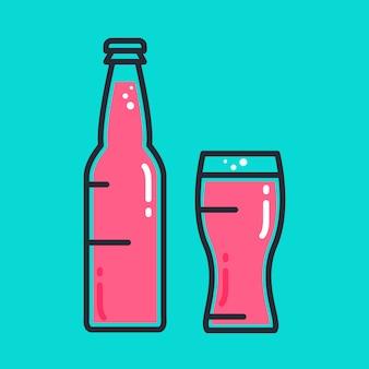 Cocktail bière froide ou bouteille de jus avec verre