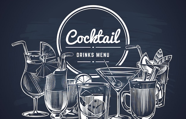 Cocktail de croquis. menu de bar de boissons alcoolisées dessinés à la main, ensemble de boissons de restaurant à boire froid.