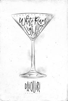 Cocktail daiquiri avec lettrage
