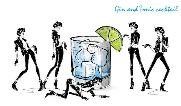 Cocktail gin tonic. fille de mode en croquis de style avec cocktail. illustration vectorielle