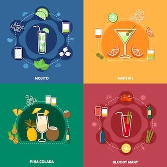 Cocktail icon set
