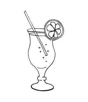 Cocktail isolé sur blanc. illustration vectorielle dessinée à la main.
