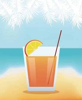 Cocktail limonade avec fond de plage