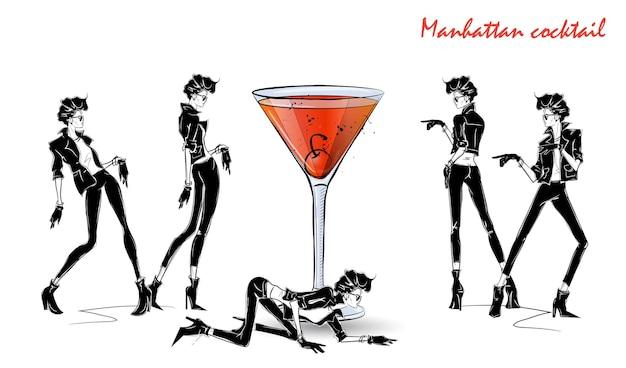 Cocktail de manhattan. fille de mode en croquis de style avec cocktail. illustration vectorielle