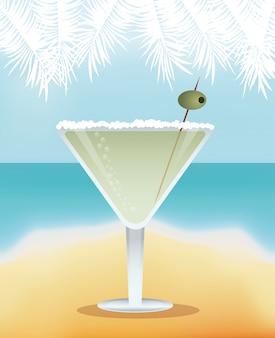 Cocktail martini fond jaune