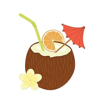 Cocktail d'objet de conception de matériau plat de vecteur de noix de coco.