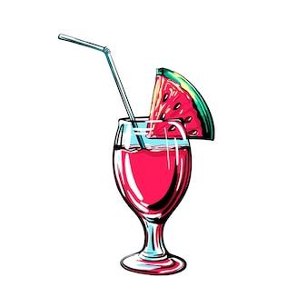 Cocktail de pastèque. illustration vectorielle