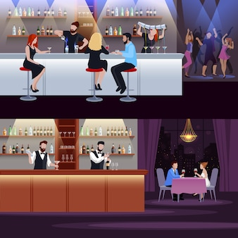 Cocktail people composition set