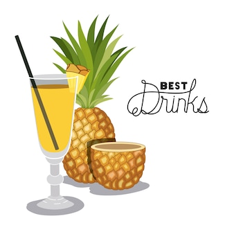 Cocktail tropical de fruits d'ananas frais