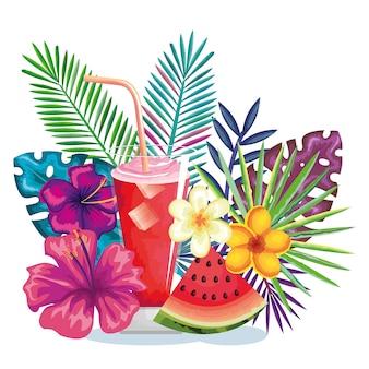 Cocktail tropical avec des fruits de melon d'eau et décoration floral vector illustration design