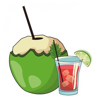 Cocktail verre et noix de coco