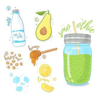 Cocktail vert pour une vie saine. smoothies à l'avocat, lait de vache, miel et noisette. recette de smoothie aux fruits dans un bocal en verre.