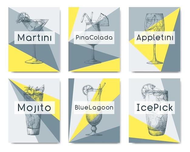 Cocktails dessinés à la main sur des cartes individuelles. illustration vectorielle dans le style de croquis