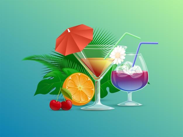 Cocktails d'été colorés décorés de fleurs de paille et de parapluies à cocktail
