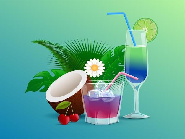 Cocktails d'été décorés de fleurs cerises feuilles tropicales noix de coco lime