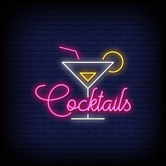 Cocktails neon signs style texte