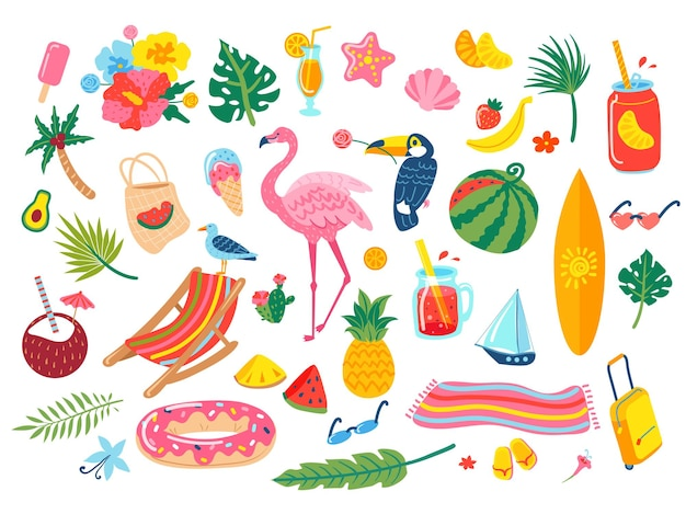 Cocktails, soda, feuilles tropicales, fleurs, ananas, pastèque, flamant rose