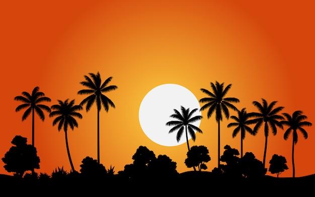 Cocotiers coucher de soleil avec forêt