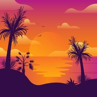 Cocotiers sur la plage au coucher du soleil.