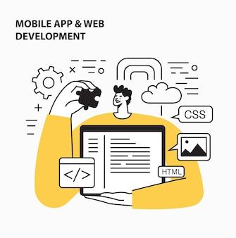 Codage et programmation d'interface de site web de conception de sites web réactifs pour le développement front et back end