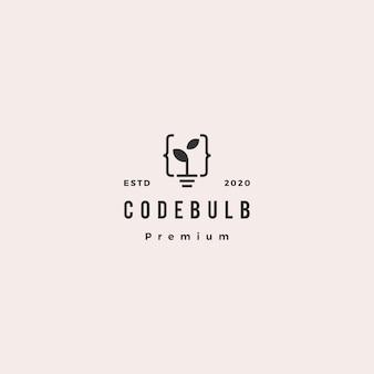 Code ampoule feuille pousse logo hipster rétro vintage icône illustration