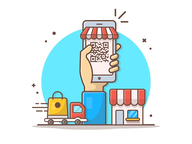Code à barres en ligne e-commerce vector clipart illustration