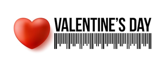 Code à barres saint valentin avec coeur 3d réaliste