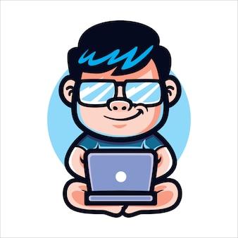 Code geek de dessin animé