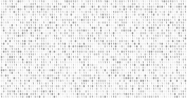 Code de la matrice binaire. flux de données informatiques, codes de sécurité numériques et fond abstrait d'informations de codage gris