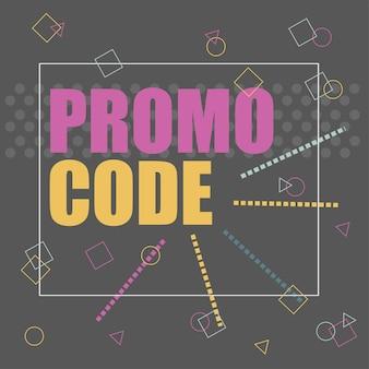 Code promo, code promo. illustration de conception de bannière de vecteur plat sur fond noir.